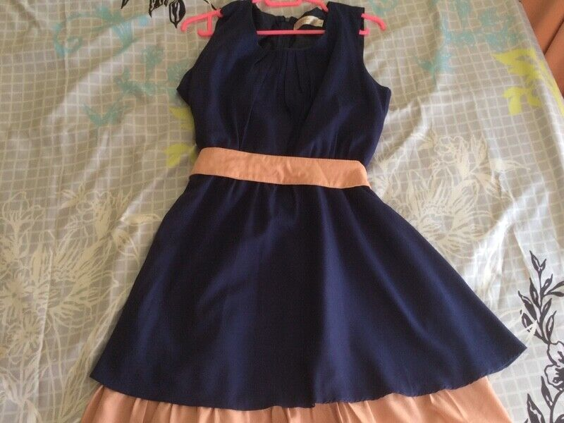 Preloved Orangebear Sleeveless Navy Blue Belt Dress with Pink Trim