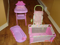baby playpen, stroller, bath and high chair for dolls