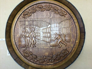 Carved on Oak Wine Barrel Top  - Wall Hanging Strathcona County Edmonton Area image 5