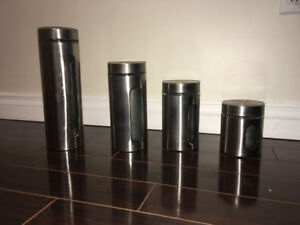 4 Pcs Canister Set Palladian Glass and Stainless Steel with Airt