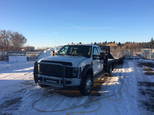 2008 Ford F-550 flat deck with 35' Gooseneck trailer