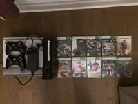 Xbox 360 Elite 120GB black with 2 controllers, headset and 12 games