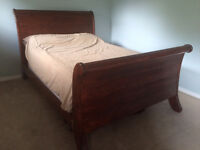 Queen Cherry Sleigh Bed - solid pine