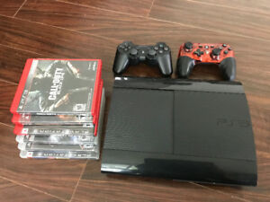 PS3 console 232 GB with 2 controllers and games