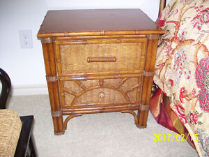 REDUCED PRICE - WICKER TABLE WITH TWO DRAWERS