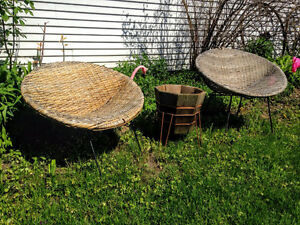 1950s Woven Wicker and Iron Bucket Chairs West Island Greater Montréal image 6