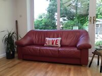 Vintage retro style leather sofa 3 seater settee raspberry Delivery Avail £199.00