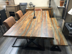 """Table à manger en bois de rose gris ou naturel massif 80"""" x 40"""""""