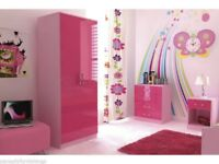 Ottawa Pink Gloss Girls Furniture Set Wardrobe+ Chest of Drawers + Bedside Table Used Good Condition