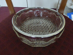 Glass Bowl with chrome plated rim