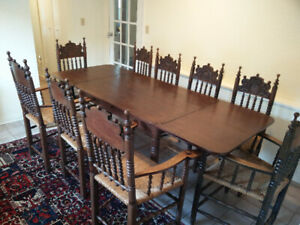 Antique 1878 German expandable butterfly dining table & 9 chairs