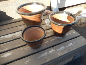 Set of 3  Terracotta  glazed pot