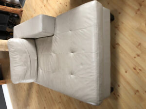White genuine leather Chaise, coach and ottoman