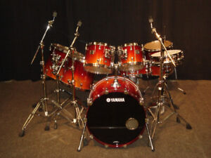 Stunning Yamaha Maple Custom Absolute 9 pc Drumkit