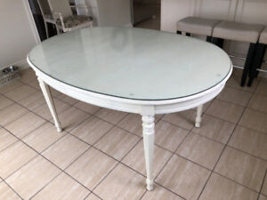 French Provincial Dining Table Painted Antique White