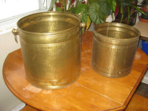2 Large Vintage Hammered Brass Buckets/Planters - VGUC - $20 OBO