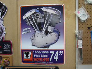 Harley Metal V-Twin Engine Signs..Man Cave,,Garage,,Etc