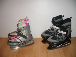 "Patins chauds ajustables "" K2 "" size 11-12-13Y - 1- 2 US"