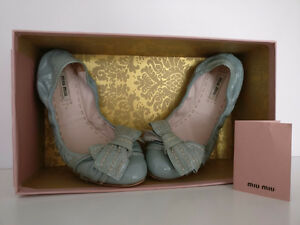 Miu Miu Bow Flats Patent Leather Size 37