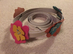 white leather belt with colorful leather flowers
