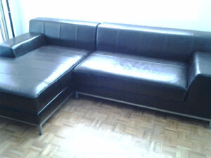 Leather Sectional Couch & Horizontal Book Shelf / TV Stand