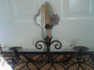 Vintage Shabby Chic Iron/Mirror Wall Candle Holder