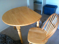 Round Table With Folding Sides & Two Chairs