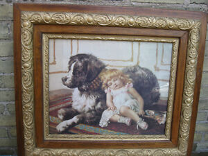 ANTIQUE  PICTURE  OF  DOG  AND  YOUNG  GIRL