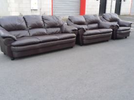 Brown Leather 2&3 Seater Sofas and Chair