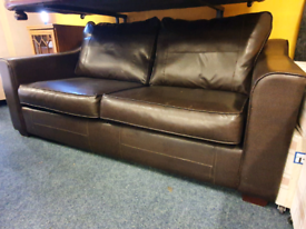 Dark brown leather 2 seater sofa £70
