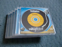 5 RECORDABLE CD'S AND CASES WITH THE LOOK OF VINYL RECORDS