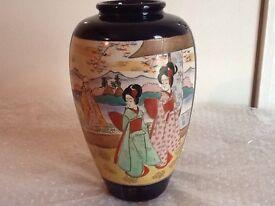 2 x Japanese style satsuma vases