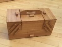 Solid oak John Lewis large cantilever sewing box