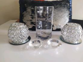 Elegant decorations, various, cushion, vase, candle holder