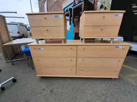 Bedroom set double drawer £50 and 2 bedside cabinets £15 pound each