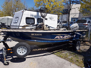 Polar Kraft 168 SC with 75 Evinrude ETECH, Trolling Motor, GPS,