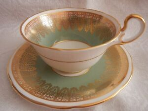 Aynsley Tea Cup Set Light Green and Gold Gilt 50's