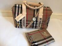 New BURBERRY Handbag, watch & scarf XMAS GIFT SET! BARGAIN!