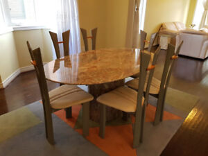 Marble Dining Table Set with Chairs