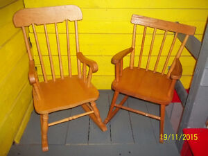 Two Wooden Children's Rocking Chairs