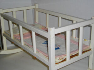 Baby doll wooden rocking crib -  - fits American Girl Bitty Baby