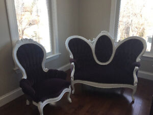 Vintage Antique Settee Sofa & Chair Set - newly reupholstered