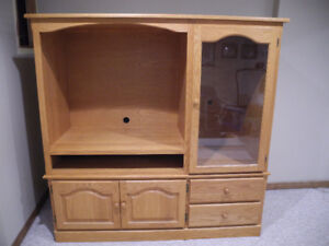 Custom Made Solid Oak Entertainment Unit in Oakville