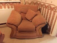 Sofa 2 chairs and 3 seater 1 puffy