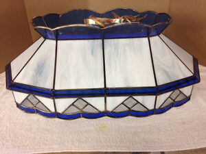 Blue White with gold accents (stained glass hanging lamp)