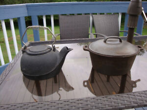 Vintage Cast Iron Tea Kettle and Dutch Oven
