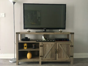 Brand NEW Grey Wash Rustic Modern TV Stand (still in box)