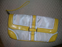 Yellow and off white wristlet/wallet