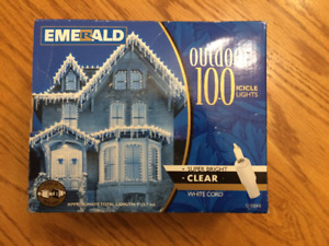 Holiday icicle lights - 100 count, clear incandescent minis