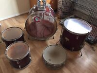 Five piece drum kit and accessories